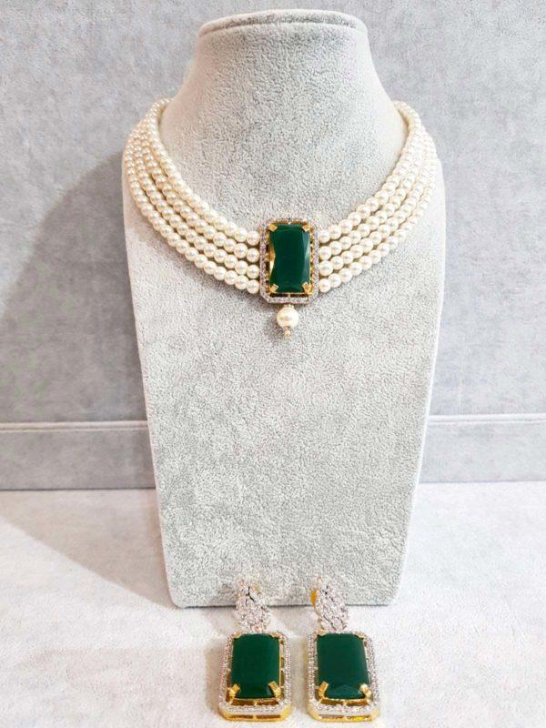 Pearl & Emerald Choker Style