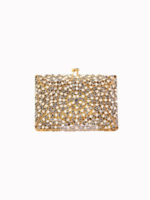 The Mother Of Pearl Zircon Large Formal Clutch Bag Swavo Collection