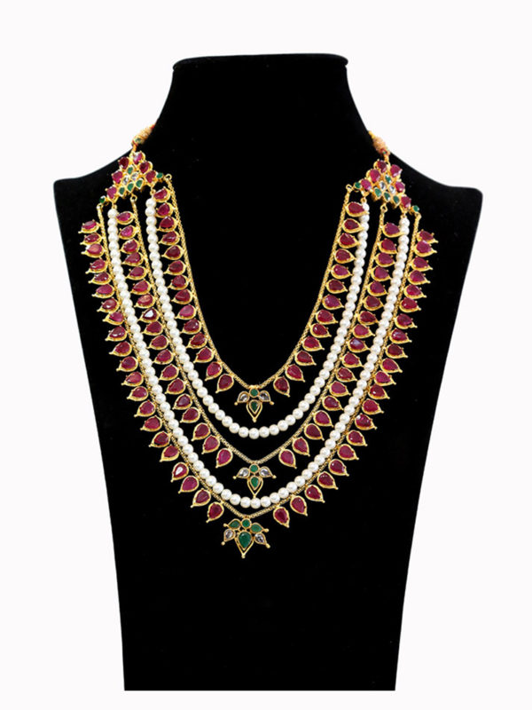 Paaro Regal Ruby & Pearl Layered Malaa Swavo Collection