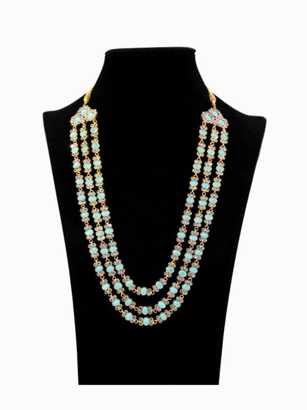Mia Turquoise Kundan Layered Maala Swavo Collection