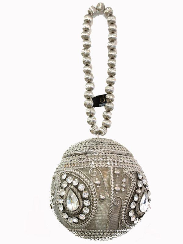 Silver Embellished Ball Handbag Swavo Collection