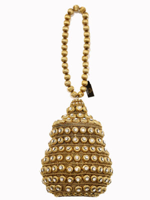 Pear Shaped Golden Embellished Handbag Swavo Collection