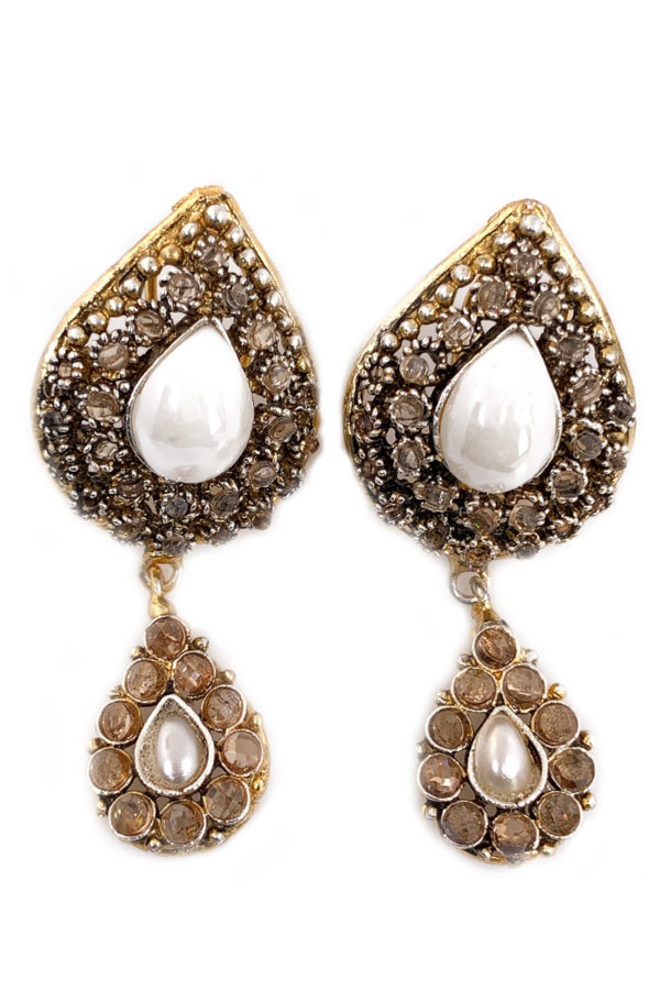 Pear Shaped Polki Studs - Swavo Collection