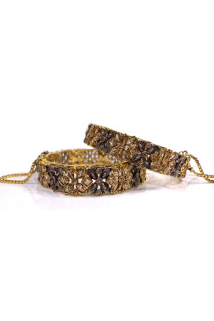 Two Tone Daisy Kada Bangle Pair - Swavo Collection