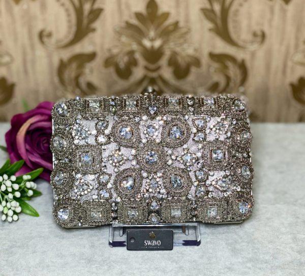 sliver bridal clutch bag